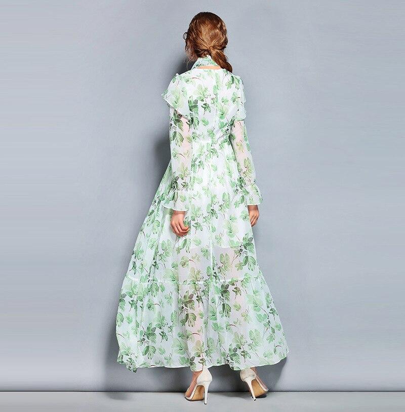 Nouveau Vert 2019 Style Longue Printemps Feuille Douce Soie Longues Frais Et De D'été Pour Plissée Manches Robe Impression Femmes 0knPwO