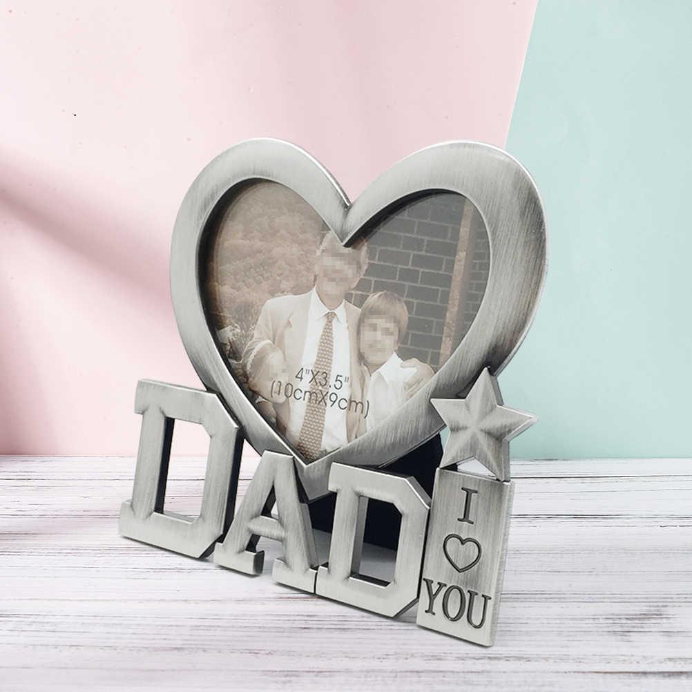 1 pc cadre Photo Durable en métal j'aime papa créatif en forme de coeur en argent cadre Photo cadre pour cadeau fête des pères