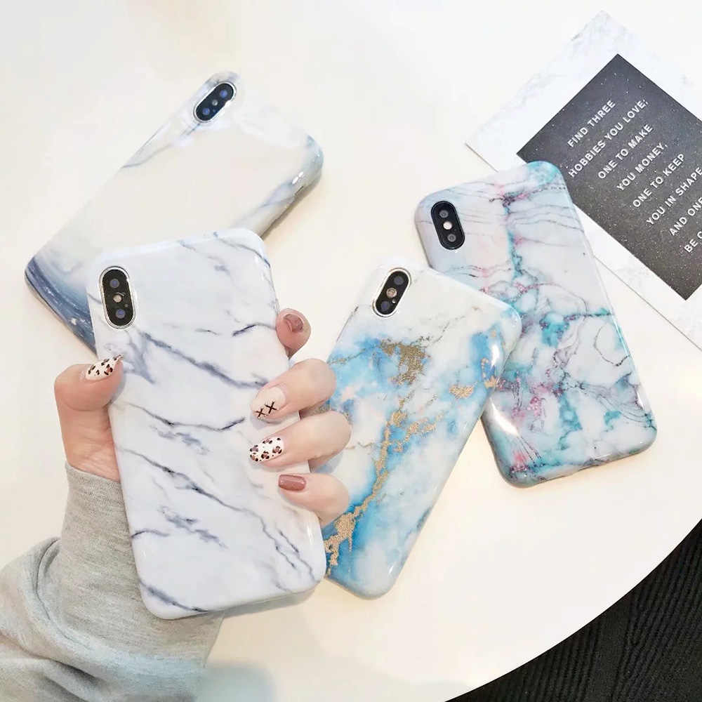 Sunforward Soft Case For iPhone XS Coque XS Mas XR 7 8 Plus 6 6S Cover Glitter Glossy Marble Funda For iPhone X Cases Slim Capa