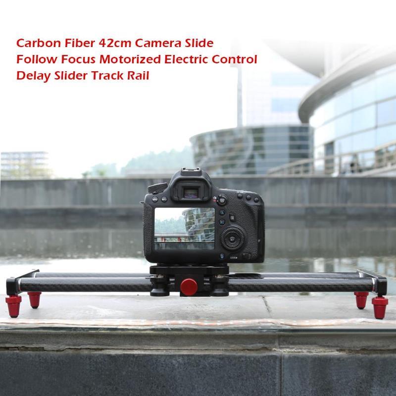 Electric Control Delay Slider Track Rail For Digital SLR Camera Carbon Fiber 42cm Camera Slide Follow Focus Motorized
