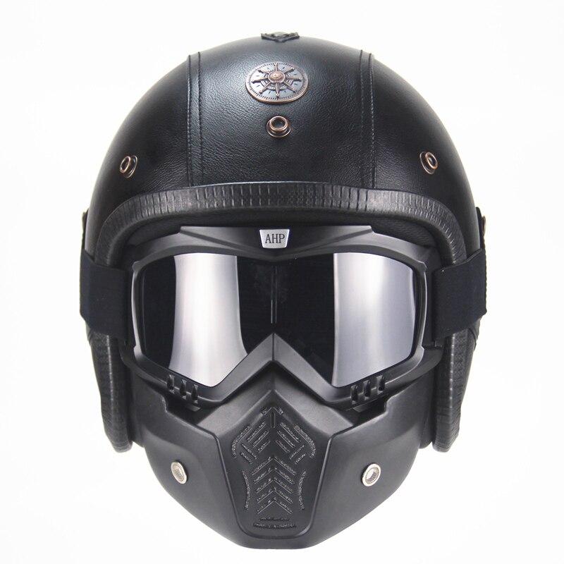 Бесплатная доставка шлемы из искусственной кожи 3/4 мотоциклетный шлем с открытым лицом винтажный мотоциклетный шлем