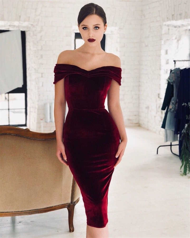8d9e0e6e3ad3 Women Off Shoulder Dress Bodycon Strapless SlimBandage Sexy Elegant Evening Party  Dress Femme Mujer Vstidos Yintage