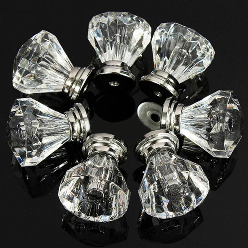 12pcs Acrylic Knobs Crystal Glass Door Knobs Drawer