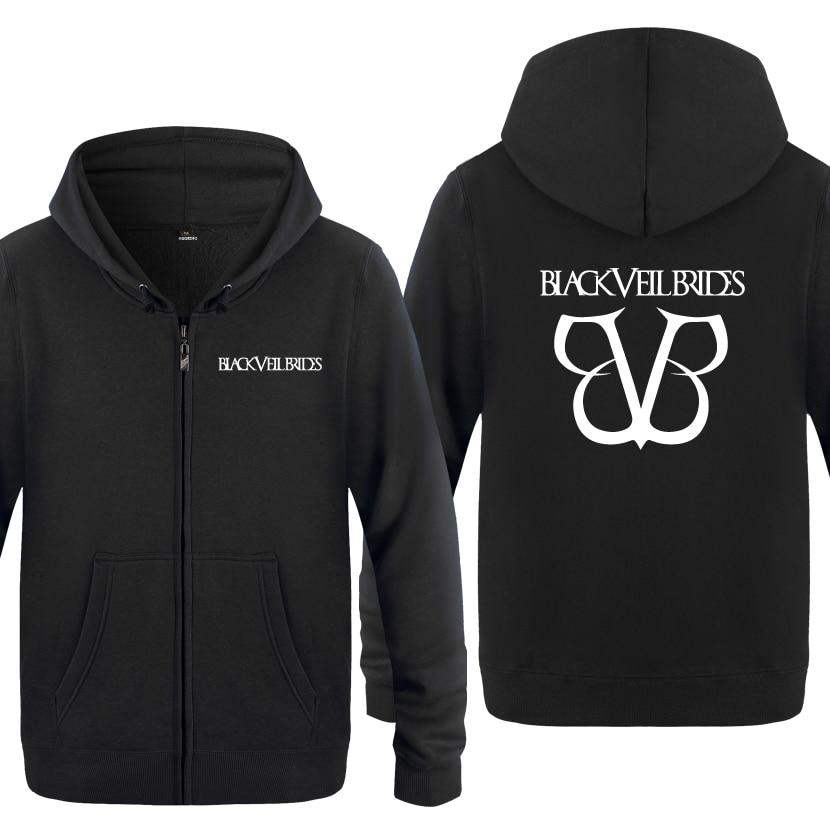 Black Veil Brides Rock Band Hoodies Men 2018 Mens Fleece Zipper  Cardigans Hooded SweatshirtsHoodies