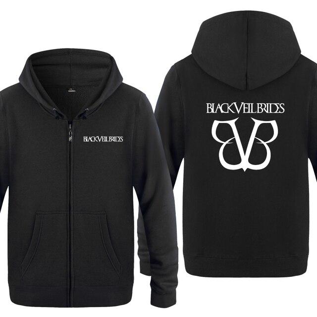 Black Veil Brides Rock Band Hoodies Men 2018 Mens Fleece Zipper Cardigans Hooded Sweatshirts