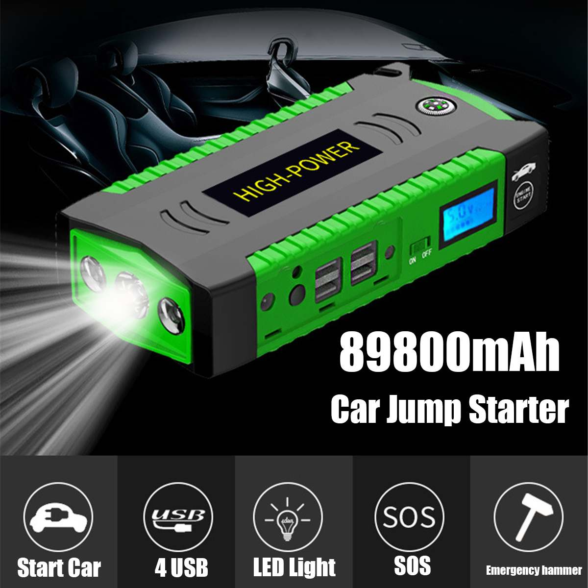 89800mAh 4 USB LCD Portable Car Jump Starter Emergency Power Bank Battery Booster Charger 12V Starting Device for Petrol Diesels