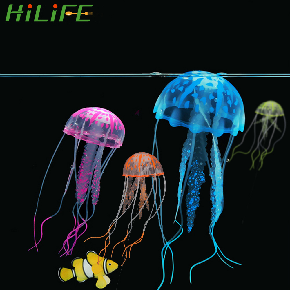 HILIFE Fish Tank Decoration Silicone Simulated Jellyfish 1pc Glowing Artificial Vivid Jellyfish Aquarium Decor Ornament