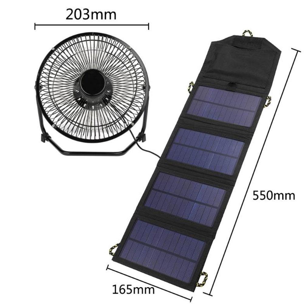 Ventilateur de refroidissement USB de fer de 8 pouces avec panneau solaire pliable 7 W alimenté par Powerbank pour le bureau à la maison