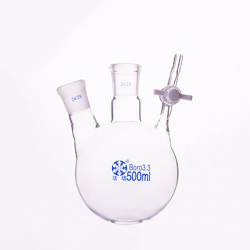 Two-necked reaction bottle oblique shape,Capacity 500ml,Joint 24/29,PTFE switch valve,Two-port reaction flask