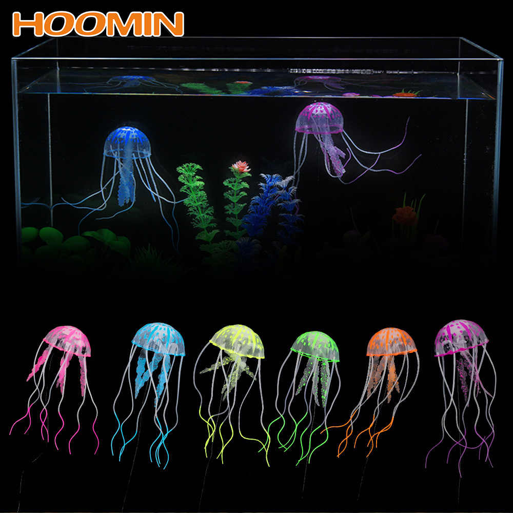 HILIFE 1pc Silicone Simulated Jellyfish Aquarium Decor Ornament Fish Tank Decoration Glowing Artificial Vivid Jellyfish