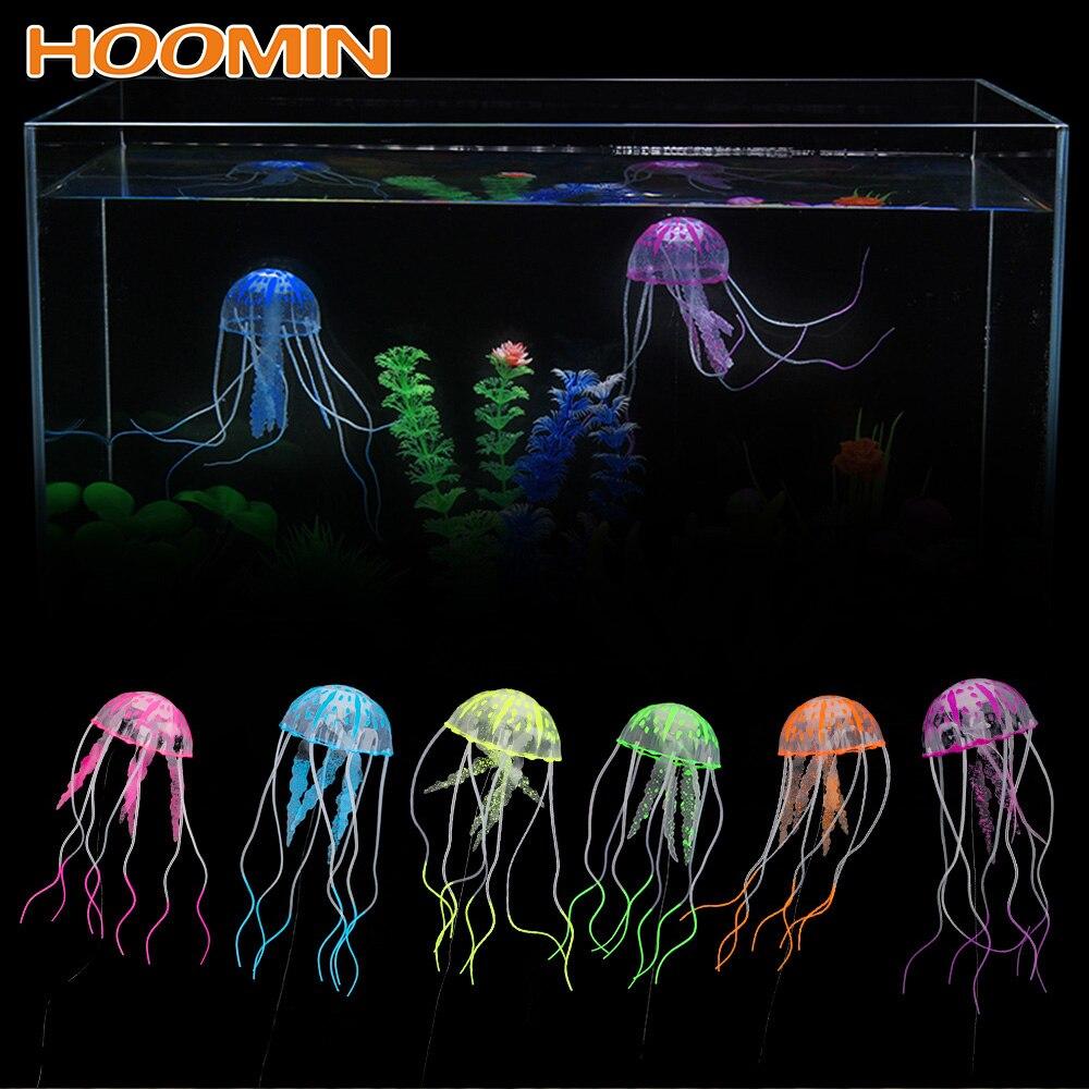 HILIFE 1pc Silicone Simulated Jellyfish Aquarium Decor Ornament Fish Tank Decoration Glowing Artificial Vivid Jellyfish(China)