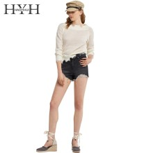 HYH Haoyihui Simple Women Free Style Pure Color Thin Sweater Perspective Brushed Edges Hole Irregular Hollow Raglan Sleeve Tops