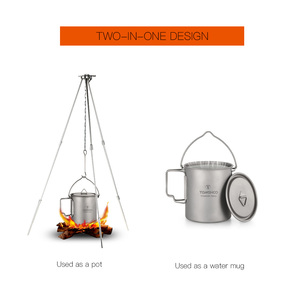 Image 4 - Tomshoo 750Ml Titanium Pot Titanium Water Mok Cup Met Deksel En Opvouwbaar Handvat Outdoor Camping Pot Koken Potten Picknick hang Pot
