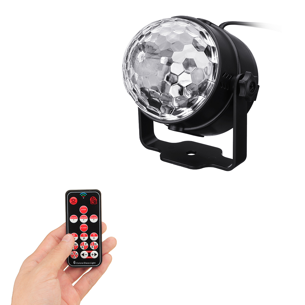 CLAITE 7W RGBYW Stage Effect Light Voice Activated Remote Control LED Crystal Magic Ball Stage Light for Bar Show AC100-240VCLAITE 7W RGBYW Stage Effect Light Voice Activated Remote Control LED Crystal Magic Ball Stage Light for Bar Show AC100-240V