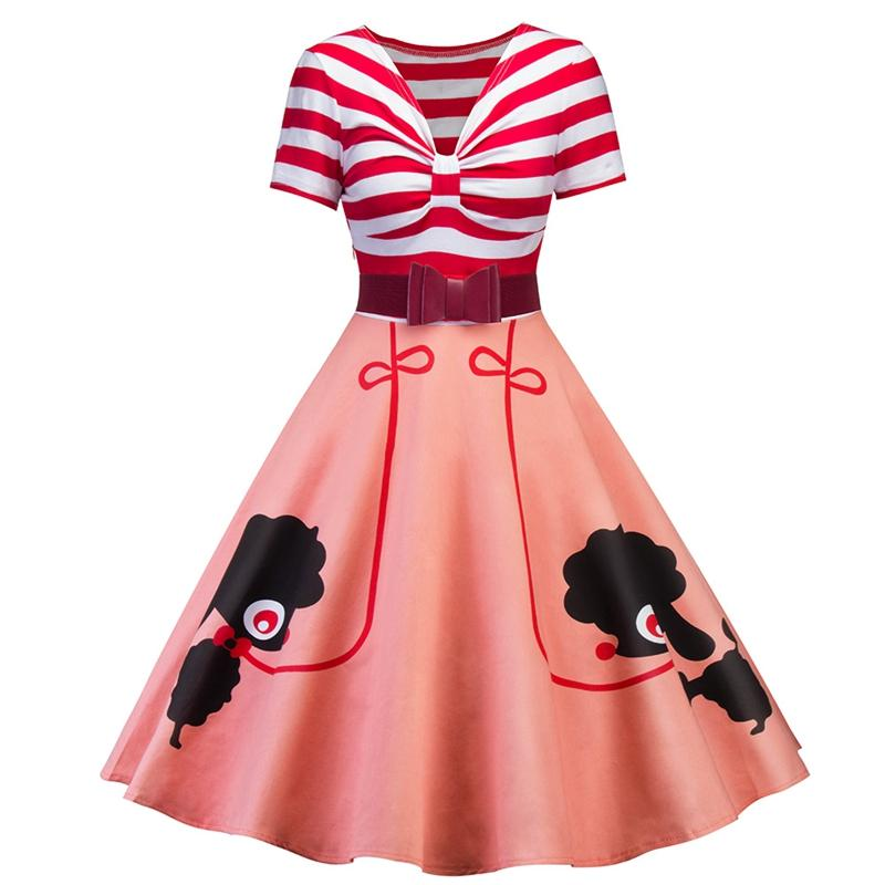 Vintage Style Stripes Piecing Pet Dogs Print Bow Belt For Slim Waist Flared Dress