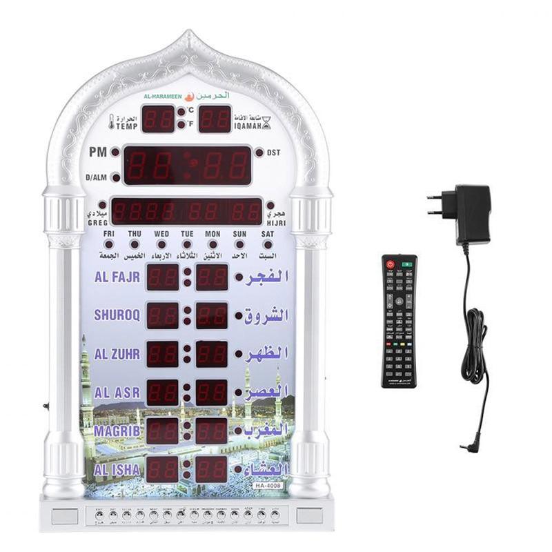 Automatische Muslim Islamischen Beten Uhr AZAN Moschee Gebet Alarm Batterie Ausgeschlossen Hause Dekoration EU Stecker-in Wanduhren aus Heim und Garten bei  Gruppe 3