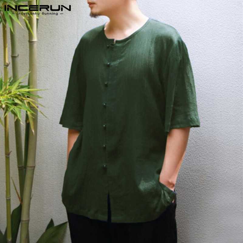 INCERUN Vintage Cotton Men's Casual Shirt Short Sleeve O-neck Male Blouse Tops Solid Color Summer Leisure Shirt Men Camisa L-5XL