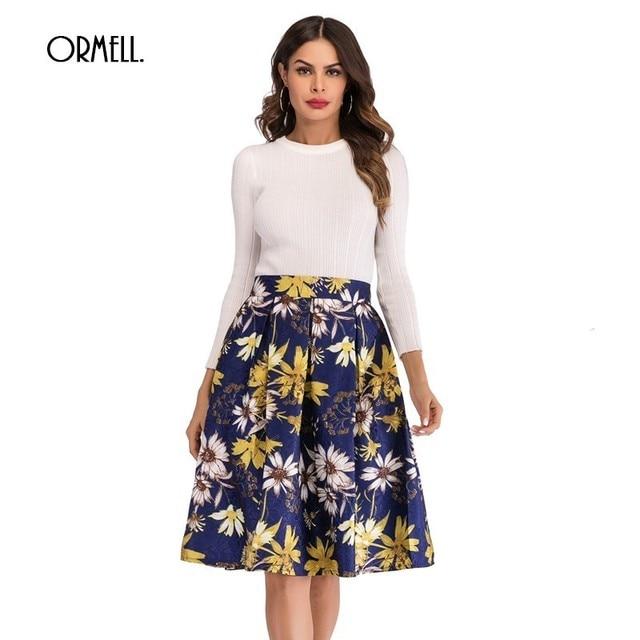 9c20511c30 ORMELL Elegant Floral Print Vintage Skirts Women Casual Slim Female Midi  Skirt 2019 Summer High Waist Blue White A-line Skirts