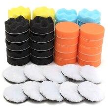 Juego de almohadillas de esponja para pulir y sacar brillo, Kit de esponja para pulidora de coche, almohadilla de pulido con cera, 50 unidades