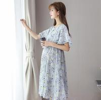 Primavera y verano nuevo vestido de maternidad de moda de manga corta vestido de maternidad D-46