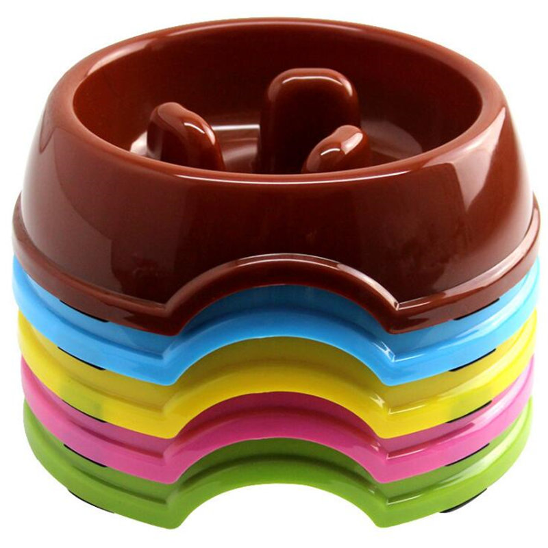 Colorful pet dog bowls Puppy dog food water feeder bowls Slow eating exercise dog dish pet container Pet feeder bowls supplies