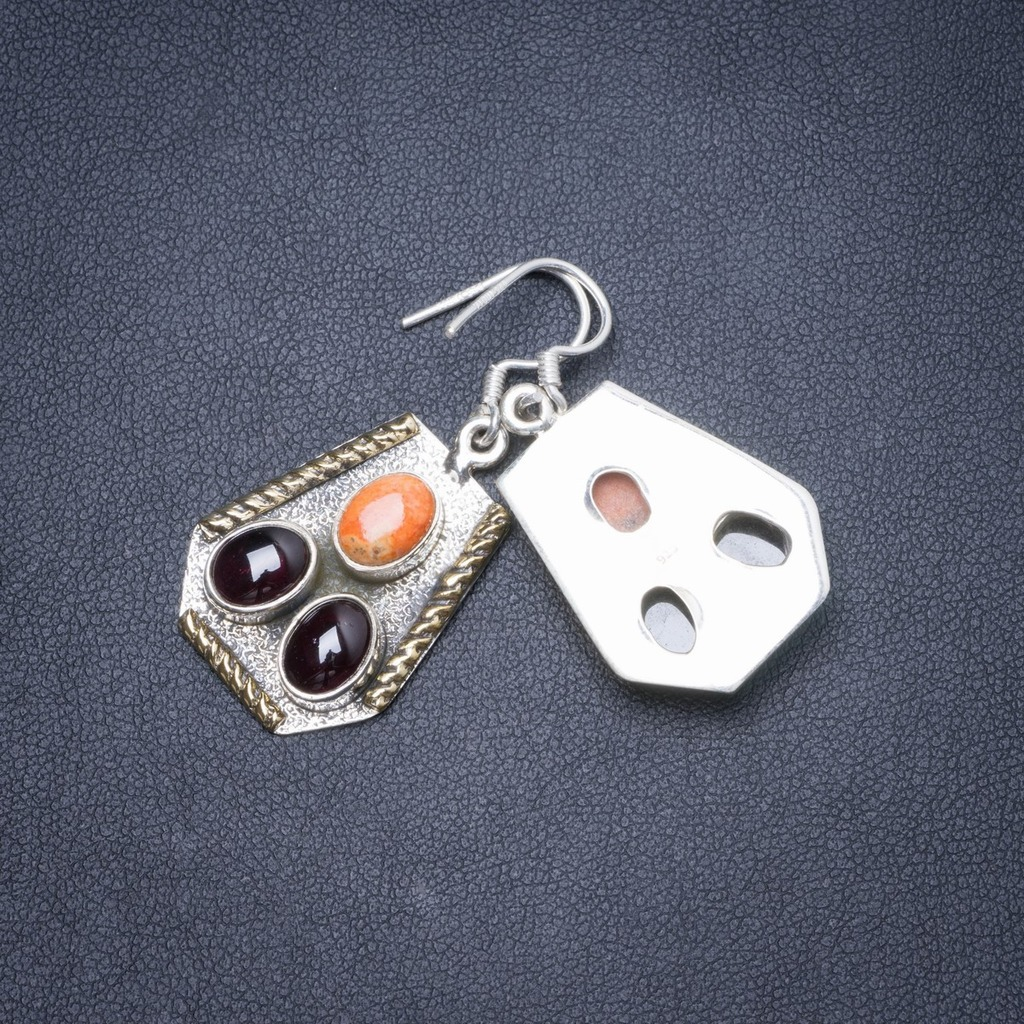 Natural Two Tones Amethyst and Coral Handmade Unique 925 Sterling Silver Earrings 1.5 Y1859Natural Two Tones Amethyst and Coral Handmade Unique 925 Sterling Silver Earrings 1.5 Y1859