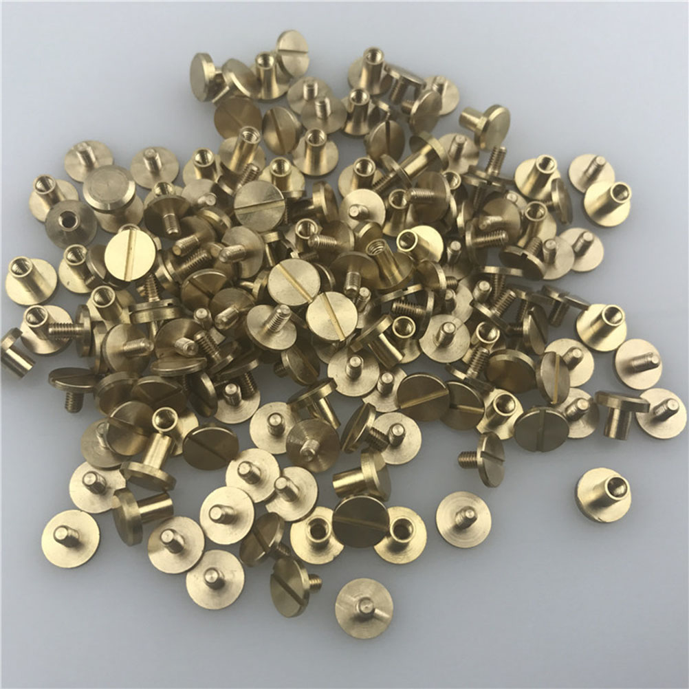 20x Leather Craft Belt Solid Brass Nail Rivets Screw Round Head Stud Bag Wallet