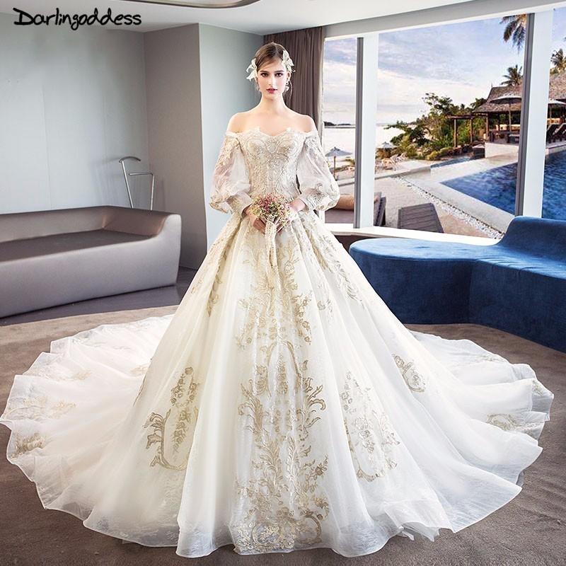 Elegant Lace Long Sleeve Wedding Dresses Princess Luxury