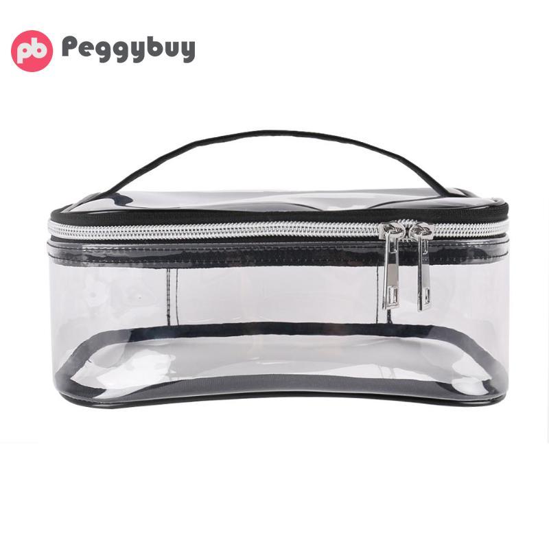 Waterproof Transparent TPU Bath Cosmetic Bag Women Make Up Case Travel Zipper Ma
