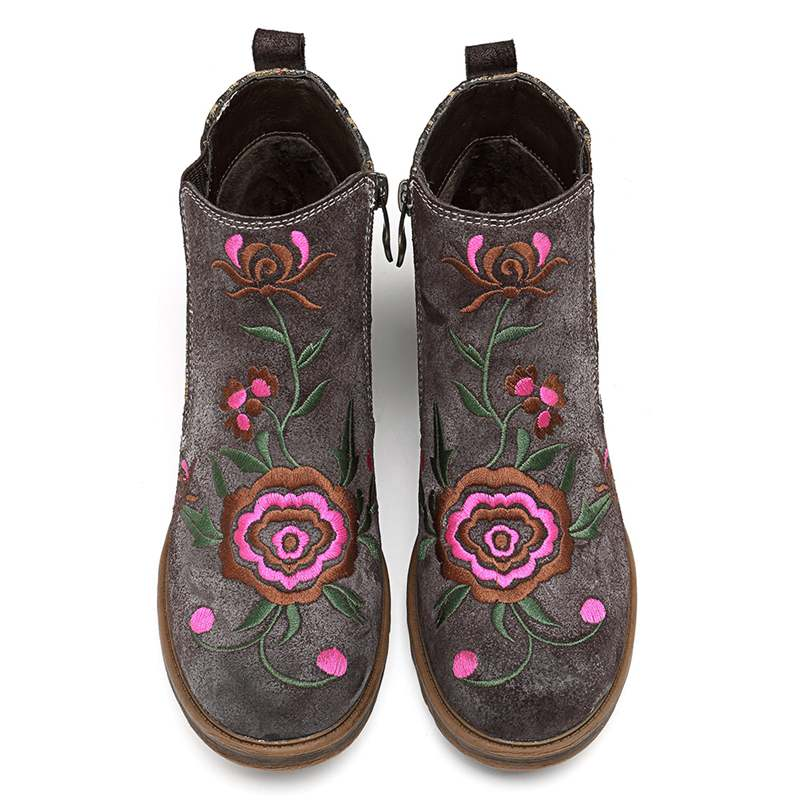 Socofy Vintage Embroidery Flower Ankle Boots Women Shoes Woman Genuine Leather Splicing Zipper Casual Women Boots Botas Mujer