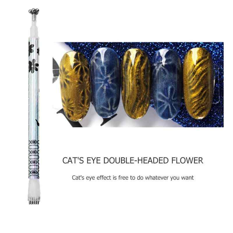 Double Head Nail Art Magnet Pen Kucing Ajaib Mata Paku DIY Alat Uv Gel Polandia 3D Magnetic Cat Pena Manikur alat