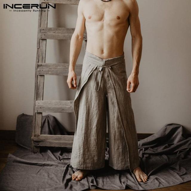 Streetwear Harem Mannen Broek Baggy Wide Benen Losse Fitness Vissers Broek Trekkoord Hoge Taille Casual Broek Pantalon Solid
