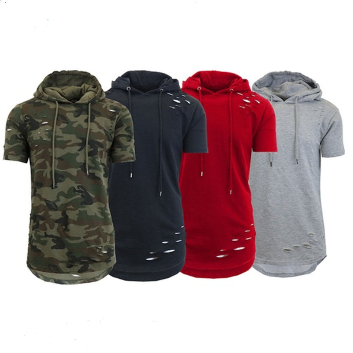 2018 Short Sleeve Hoodies Fashion Slim Hooded Sweatshirt Men Hip Hop Hoodie Men's Rapper Vest Top Camisa Masculina Clothes