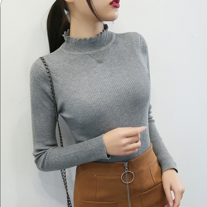 Turtleneck Knitted Women Sweaters And Pullovers Solid Long Sleeve Thin Office Lady Winter Slim Sueter Mujer Tops Jumper Sweater