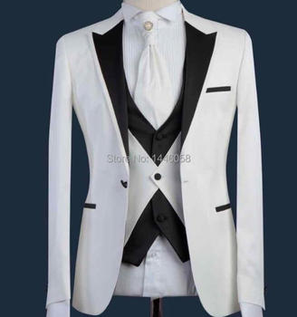 2019 White And Black Fashion Design Custom Made Formal Prom Party Mens Wedding Suits Costume Groom Tuxedo Slim Fit Men Suits