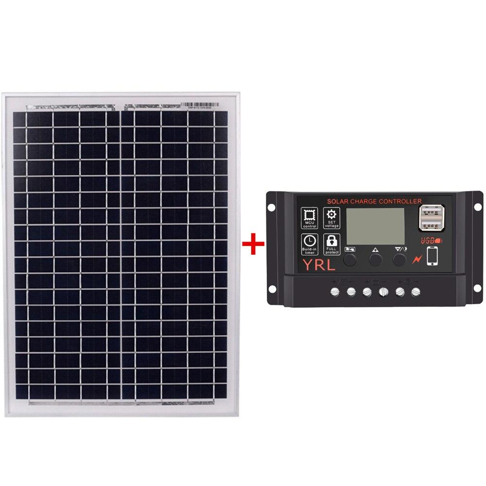 Black 18V20W Solar Panels + 12V/24V Solar Controller With Usb Interface Battery Travel Power SupplyBlack 18V20W Solar Panels + 12V/24V Solar Controller With Usb Interface Battery Travel Power Supply