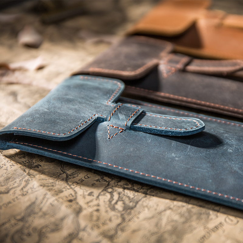 2019 New Vintage Leather Pencil Case Top Layer Leather Handmade Pen Bag Planner Accessories Gifts For The New Year 2019 For Men