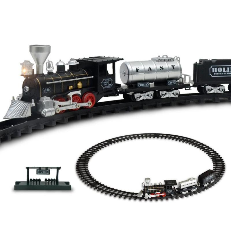 Classic Electric Dynamic Steam RC Track <font><b>Train</b></font> Set Simulation Model Toy Kit Educational Toys For Children Model Toy image