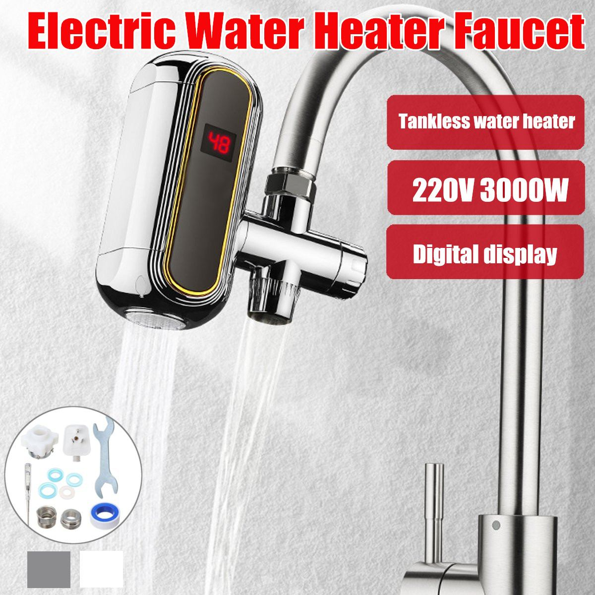 220V 3000W Tankless Electric Water Heater Faucet Electric Kitchen Water Heater Tap LCD Display 3s Instant Heating