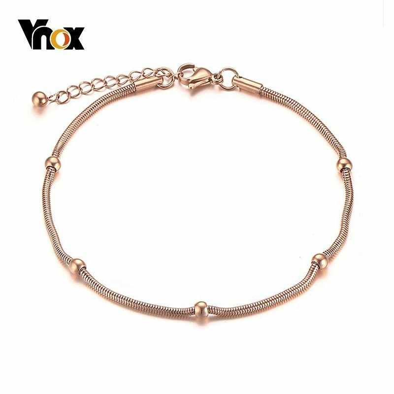 Vnox Simple Snake With Beads Charm Bracelets for Women Rose Stainless Steel Link Chain Elegant Female Party Jewelry Adjustable