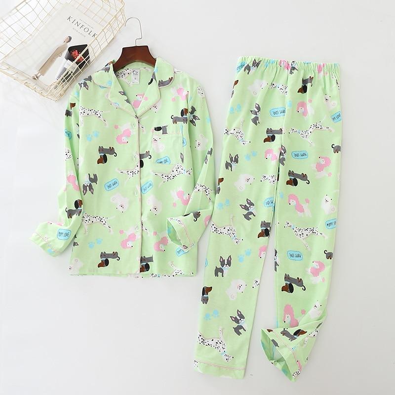 Women's Cotton Woolen Pajamas Printing Cartoon Spring Pyjamas Women Pijama Mujer Long Sleeve Sleepwear Full Length Sleep Set
