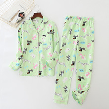 Women's Cotton Woolen Pajamas Printing Cartoon Spring Pyjamas Women Pijama Mujer Long Sleeve Sleepwear Full Length Sleep Set