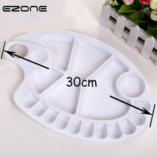 Купить с кэшбэком EZONE 18 Holes Palette PP Palettes For Watercolor Painting Drawing Fish Shaped Pallet For Art Oil Painting School Office Supply
