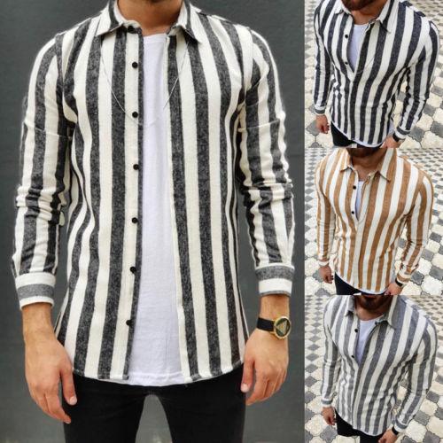 Shirt Men 2019 New Striped Long Sleeves Mens Shirts Camisa Masculina Spring Summer Brand Casual Male Shirt Tops