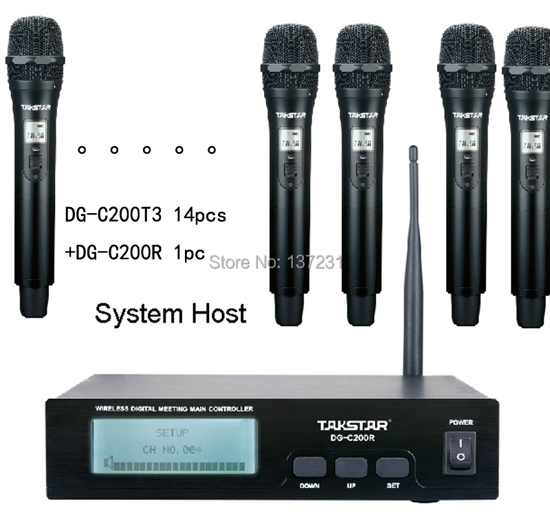 New Takstar DG C200R 14 persons Handheld Microphones Conference Microphone System 2 4G Digital Wireless Conference