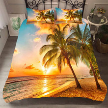 Bedding Set 3D Printed Duvet Cover Bed Set Beach Coconut Tree Home Textiles for Adults Bedclothes with Pillowcase #HL22 beach style dusk coconut tree pattern square shape pillowcase