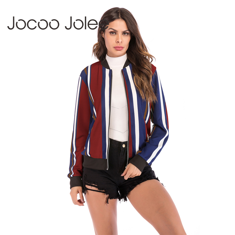 Jocoo Jolee Women   Basic     Jacket   Casual Long Sleeve Animal Flower Striped Print   Jacket   Loose Coat Zipper Bomber   Jacket   Windbreaker