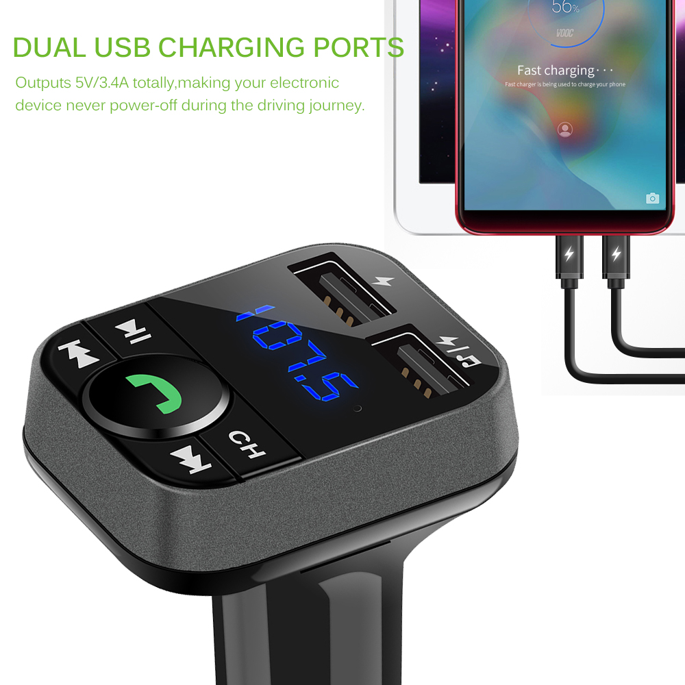 Auto Mp3 Player Bluetooth Hands Free Car Kit Fm Transmitter Lcd Mp3 Auto Mp3 Player Auto Ladegerät