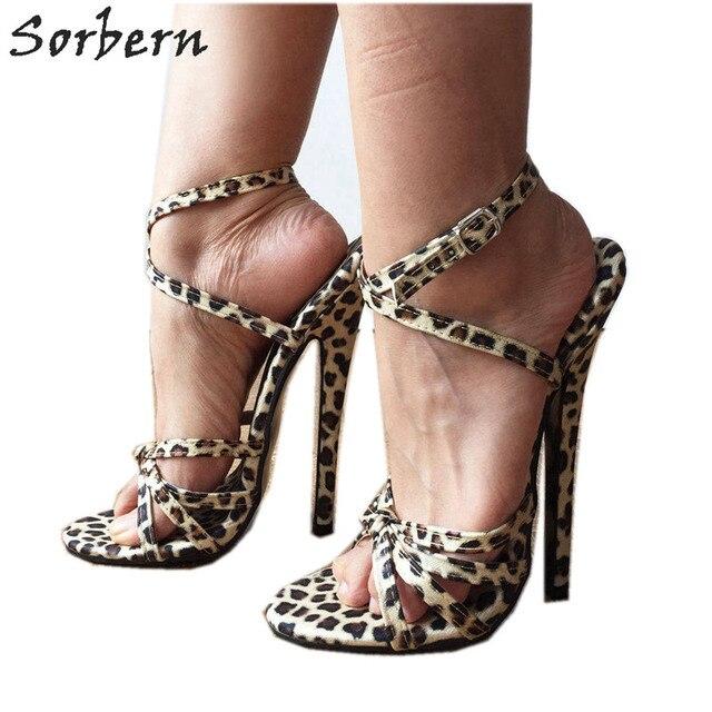 27068a89eb34 Sorbern Fashion Slingback Sandals Women 18Cm Spike High Heel Cross Strap  Leopard Print Shoes Size 11 Women Shoe Ankle Strap Heel