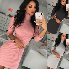 Womens New Solid Slim Knitted Long Sleeve High Neck Sweater Dress Jumper Winter Pullover Ladies Tops цены
